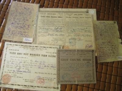Một số giấy tờ, văn bằng trong bộ sưu tập