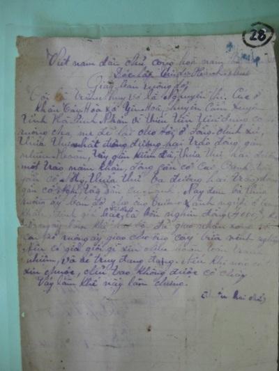 Giấy bán ruộng bằng tay bằng chữ Quốc ngữ vào năm 1949.