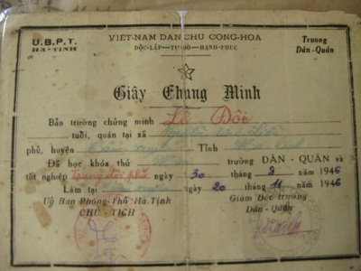Giấy chứng minh năm 1946