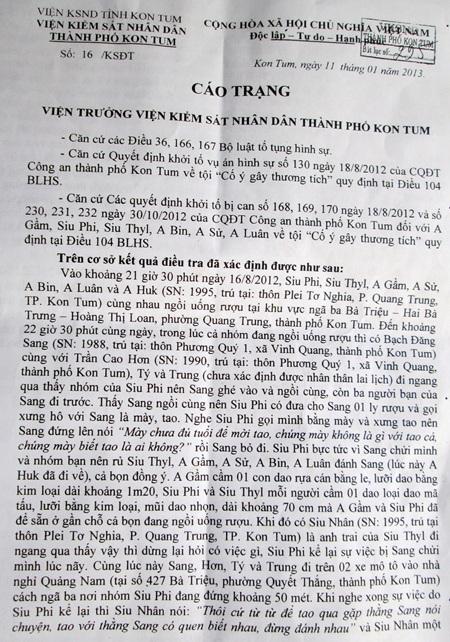 Bản cáo trạng với tỷ lệ thương tật của Lâm được đắp sang cho Sang