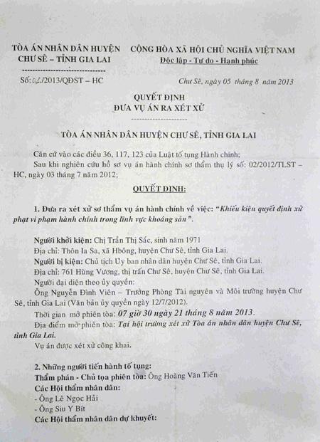 Quyết định đưa ra xét xử của TAND huyện Chư Sê