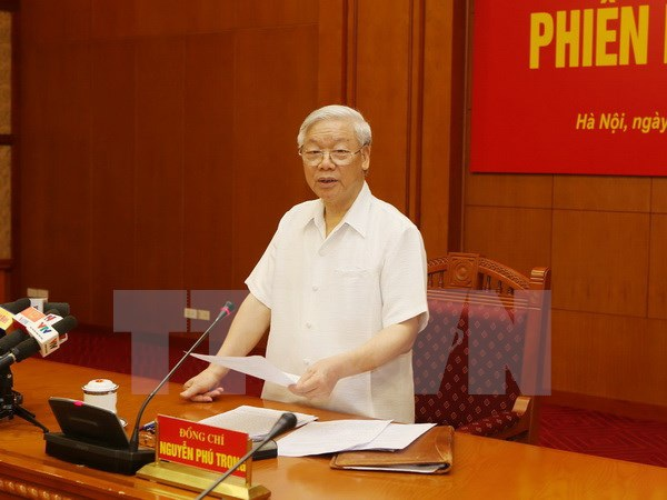 Tổng Bí thư Nguyễn Phú Trọng chủ trì cuộc họp (Ảnh: TTXVN)