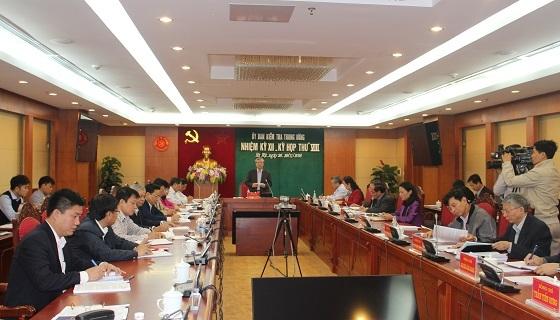 Ông Trần Quốc Vượng-Chủ nhiệm Ủy ban Kiểm tra Trung ương chủ trì cuộc họp (Ảnh: UBKTTW)