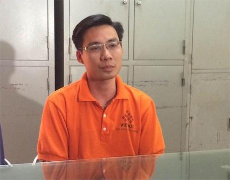 Đối tượng Nguyễn Trung Kiên tại cơ quan công an