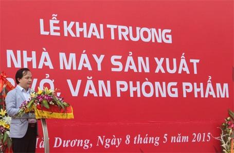 Ông Hưng phát biểu tại Lễ khai trương Nhà máy...