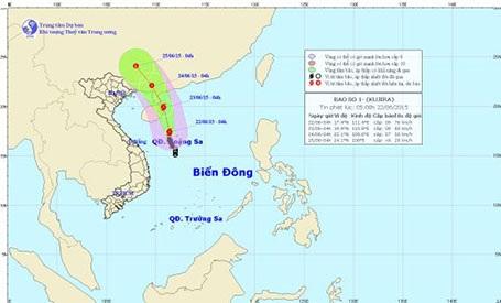 Dự báo hướng đi của bão số 1 (ảnh TTDBKTTVTƯ)