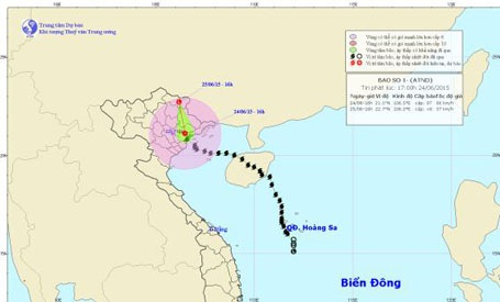 Bão số 1 đã suy yếu thành áp thấp nhiệt đới (ảnh TTDBKTTVTƯ)