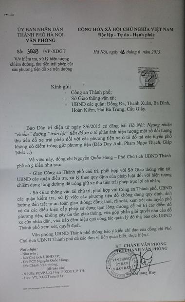 Công văn chỉ đạo của UBND TP Hà Nội