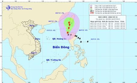 Dự báo hướng đi của bão số 2 (ảnh: TTDBKTTVTƯ)