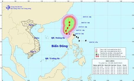 Dự báo hướng đi của bão LINFA (ảnh: TTDBKTTVTƯ)