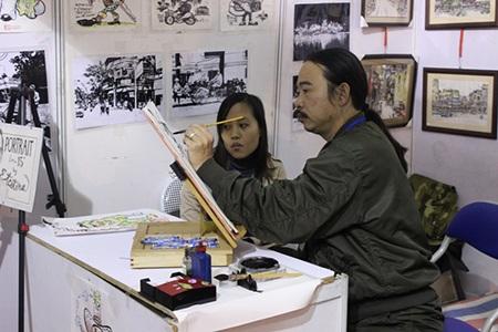 Gian hàng của họa sĩ vẽ chân dung