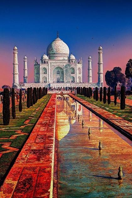 Hoàng hôn ở Đền Taj Mahal,