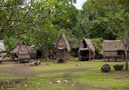 Trong làng Obweria, rất nhiều các mái nhà tranh được dựng giữa rừng cây