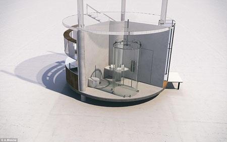 Khu vực WC của nhà cũng làm bằng kính trong suốt.
