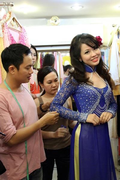 Thí sinh Hoa hậu các dân tộc Việt Nam thử áo dài - 1