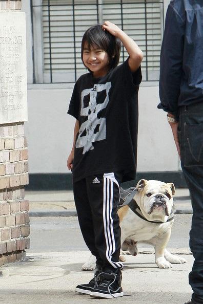 Maddox, Shiloh, Zahara dắt cún cưng đi dạo