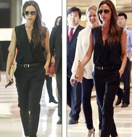Bà Beck thay đồ và đi mua sắm tại một trung tâm thương mại lớn ở Bắc Kinh ngay sau khi hạ cánh