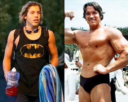 Con riêng của Arnold Schwarzenegger (trái) càng lớn càng giống bố(phải)