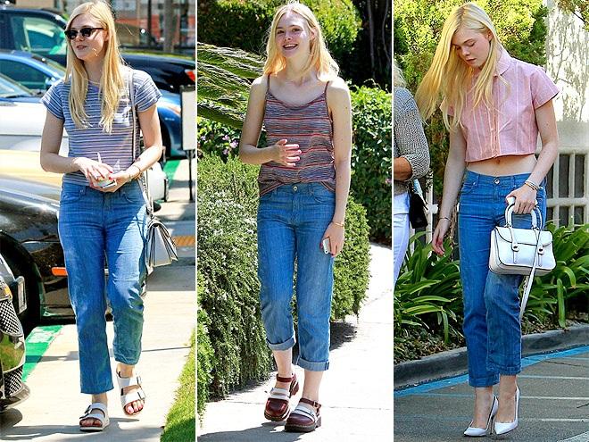 Elle Fanning trẻ trung với quần Jeans ống suông Strom.