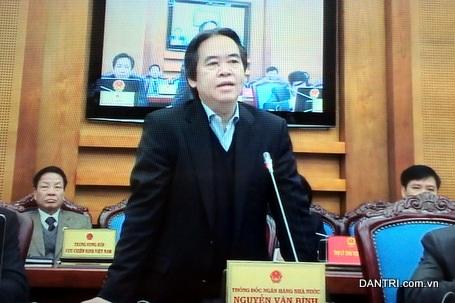 Thống đốc Nguyễn Văn Bình tại Hội nghị trực tuyến sáng 24/12 (ảnh: BD).
