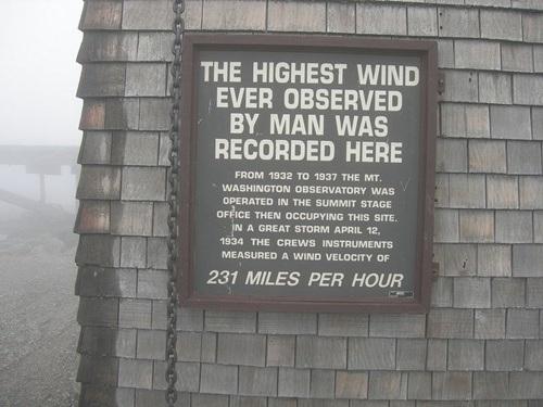 Tấm biển ghi lại kỷ lục cuồng phong từng xảy ra trên đỉnh núi với tốc độ giá đạt 371 km/h.
