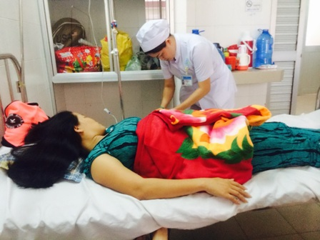 Chị T đang được điều trị tại Bệnh viện ĐK Trung ương Cần Thơ