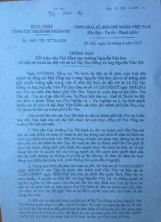 Văn bản của bà Trần Thị Kim Dung - Vụ trưởng Vụ nghiệp vụ 1 ký ngày 1/5/2015.