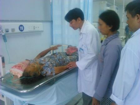 Bà Suốt đang điều trị tại Bệnh viện ĐKTP Cần Thơ