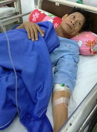 Một nạn nhân bị rắn cắn từng điều trị tại bệnh viện Quân y 121 Cần Thơ
