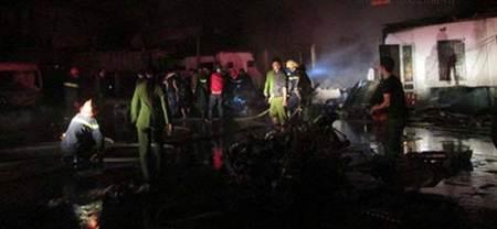 Vụ cháy đã làm 41 xe máy bị thiêu rụi và hư hỏng.