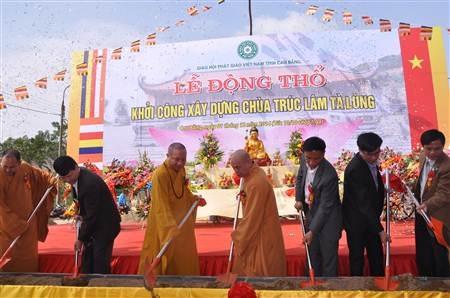 Nghi thức khởi công xây dựng chùa Trúc Lâm Tà Lùng.