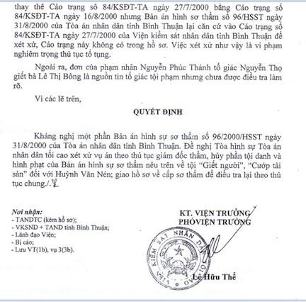 Kháng nghị giám đốc của VKSND Tối cao gửi sang TAND Tối cao.