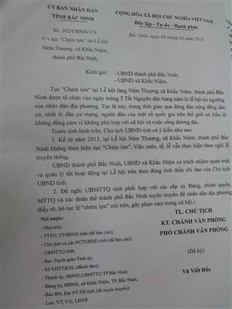 Theo UBND tỉnh Bắc Ninh, từ năm 2013 địa phương đã không thực hiện tục chém lợn gây phản cảm.