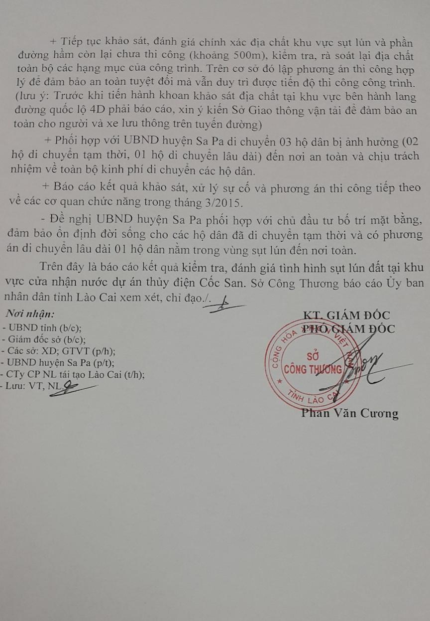 Báo cáo về kết quả kiểm tra hiện tượng sụt, lún trên QL 4D của Sở Công thương Lào Cai.
