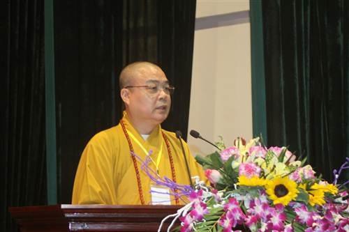 Hòa thượng Thích Thanh Nhiễu tại buổi lễ thành lập.