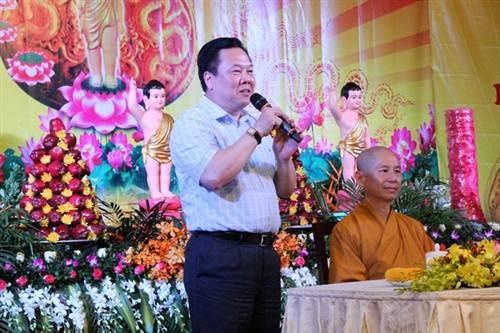 Đồng chí Nguyễn Hoàng Anh, Bí thư Tỉnh ủy, Chủ tịch UBND tỉnh Cao Bằng phát biểu tại buổi lễ.