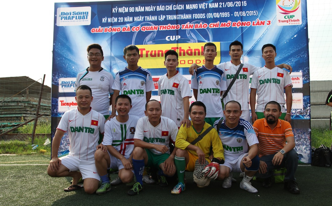 Các cầu thủ FC Dân trí tại cúp bóng đá các cơ quan thông tấn báo chí 2015.