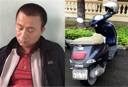 Đối tượng Đinh Văn Thắng cùng tang vật vụ án.