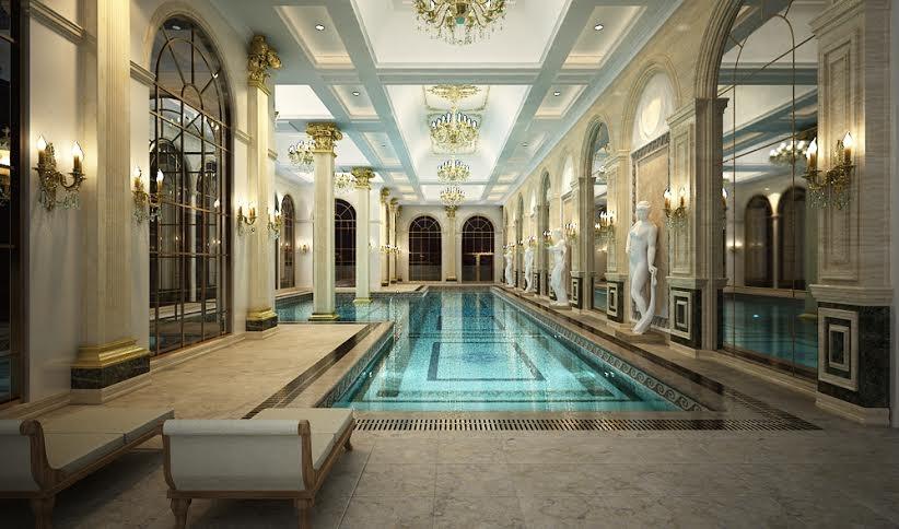 Hai bể bơi bốn mùa nằm trên tầng mái, tầm nhìn ngoạn mục bao quát toàn thành phố.