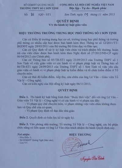 """Quảng Ngãi: Thu hồi quyết định của hiệu trưởng """"buộc thôi việc"""" giáo viên tố cáo"""