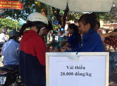 Giá vải thiều được niêm yết tại điểm bán trước Tỉnh đoàn Quảng Ngãi.