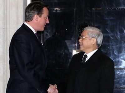 Thủ tướng David Cameron đón Tổng Bí thư Nguyễn Phú Trọng
