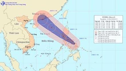 Dự báo đường đi và vị trí cơn bão. Ảnh: Trung tâm dự báo Khí tượng thủy văn
