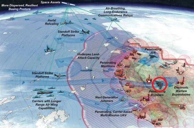 Mỹ muốn dùng các máy bay ném bom tầm xa (vòng tròn đỏ) như vũ khí mở đường, thọc sâu và làm tê liệt hệ thống thông tin liên lạc của đối phương, trước khi các lực lượng khác tiếp cận. (Ảnh: McNeal & Associates)