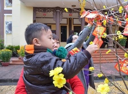 Cháu bé Tuấn Kiệt (5 tuổi) thích thú khi được mẹ đưa đi hái lộc đầu năm.