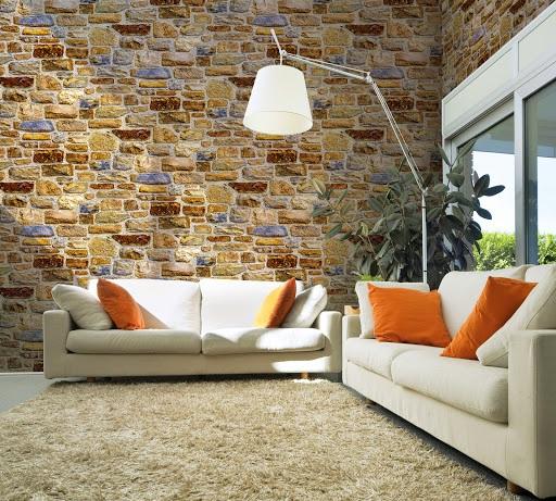 Giấy dán tường phòng khách giả đá