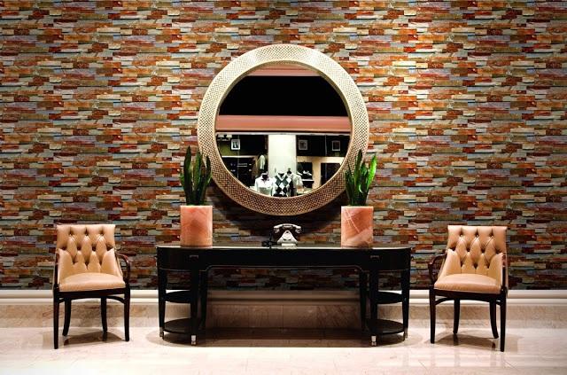 Giấy dán tường phòng khách mạnh mẽ và sang trọng
