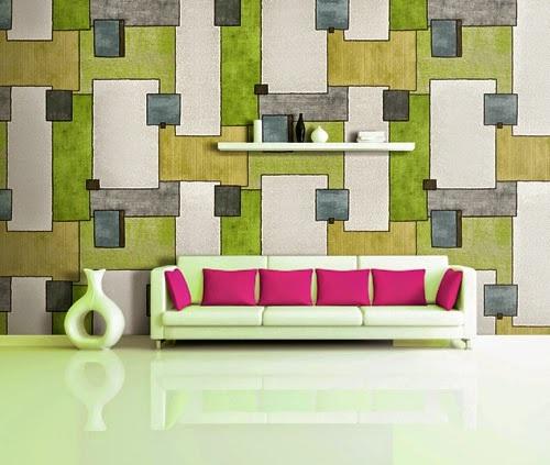 Giấy dán tường phòng khách với gam màu phá cách