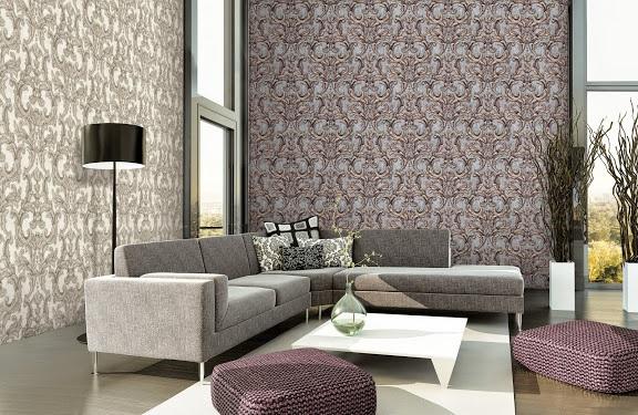 Giấy dán tường phòng khách hoa văn sang trọng Giấy dán tường phòng khách mang phong cách phương tây