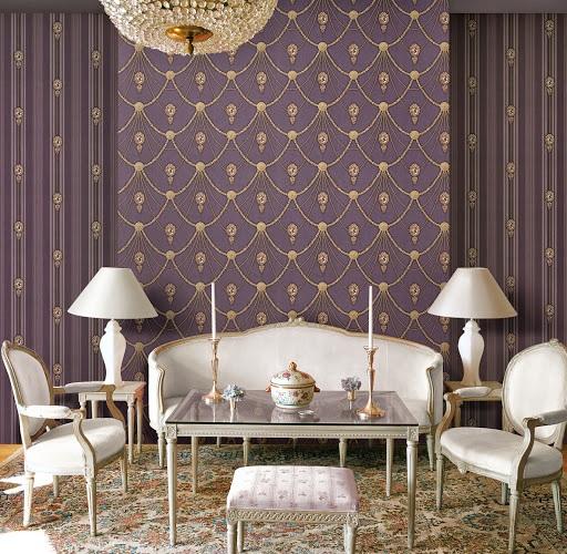 Giấy dán tường phòng khách mang phong cách quý phái của hoàng gia